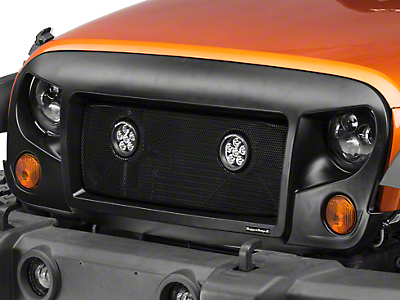 Rugged Ridge Spartan Grille w/ Mesh Insert and Round LED Lights (07-17 Wrangler JK)