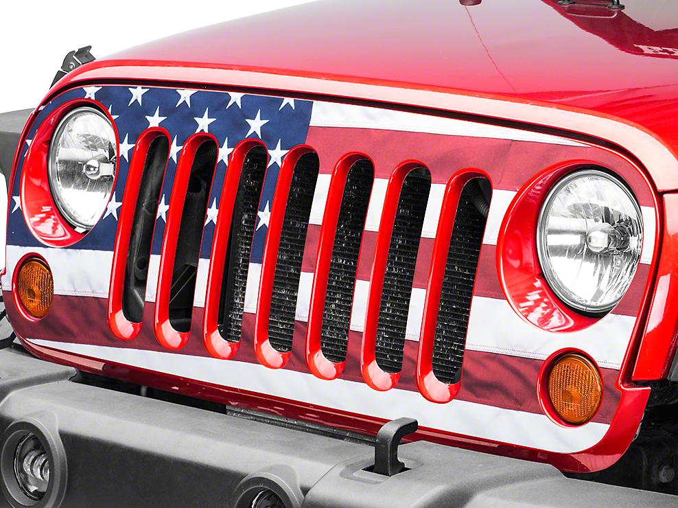 Full Color American Flag Grille Decal (07-17 Wrangler JK)