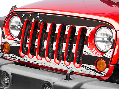 Distressed Black and White American Flag Grille Decal (07-17 Wrangler JK)