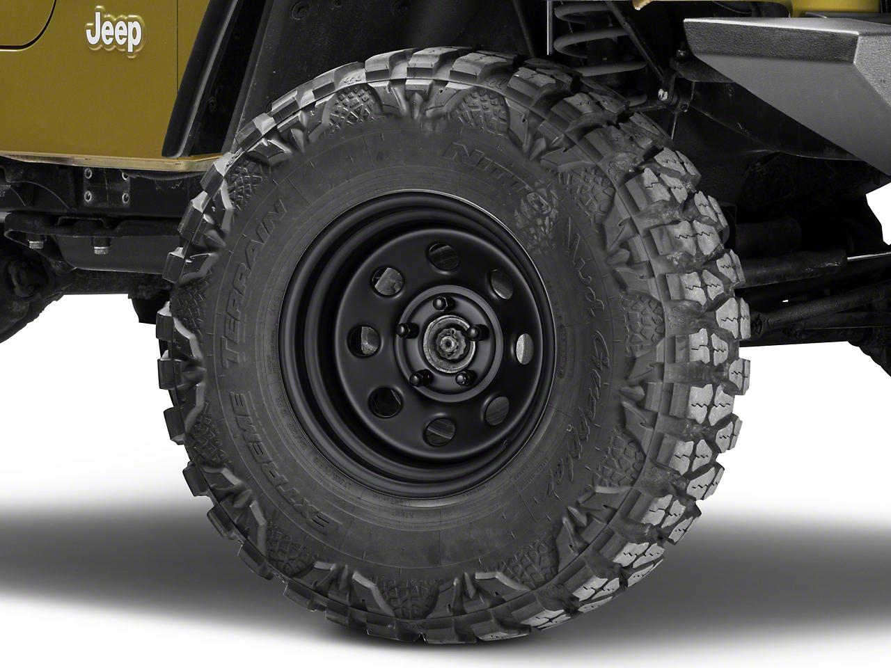 Pro Comp Steel Series 97 Rock Crawler Flat Black Wheel - 15x8 (87-06 Wrangler YJ & TJ)