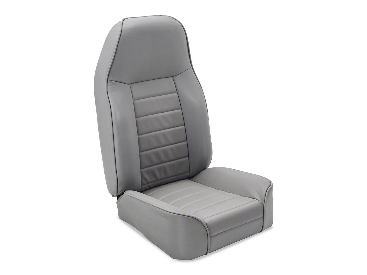 Smittybilt Standard Front Bucket Seat - Light Gray Denim (87-06 Wrangler YJ & TJ)