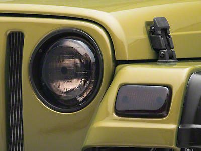 Rugged Ridge 2 Smoke Plastic Molded Headlights & Park Lamp Covers (97-06 Wrangler TJ)
