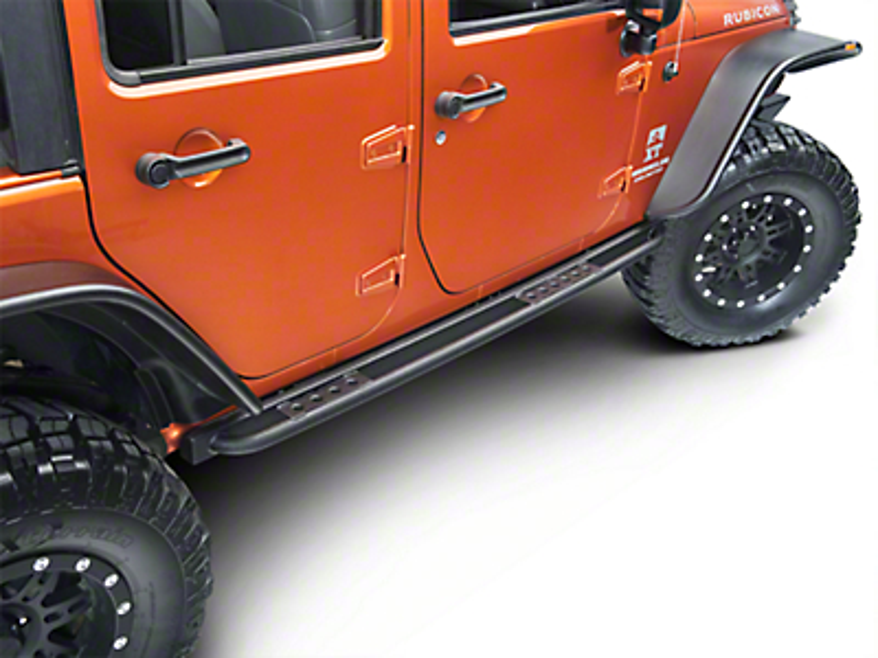 Smittybilt SRC Classic Rock Rails (OEM Style) W/ Step- Black Textured (07-17 Wrangler JK 4 Door)