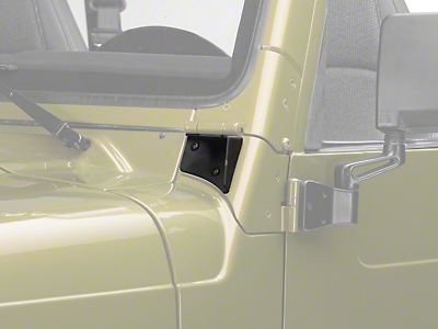 Off Camber Fabrications by MBRP Windshield Hinge Mounting Brackets - Textured Black (97-06 Wrangler TJ)