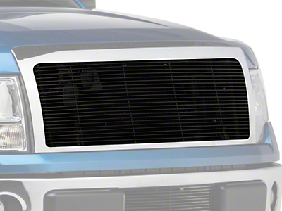 Modern Billet Upper Grille Cutout w/ Emblem Delete - Black (09-12 All, Excluding Harley Davidson, Platinum & Raptor)