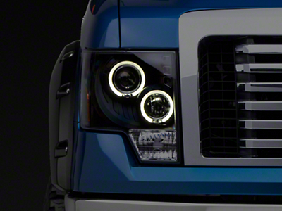 Axial Black Dual Halo LED Projector Style Headlights (09-14 w/o Factory HID)