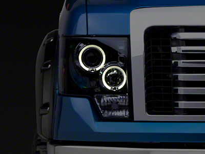 Smoked Dual Halo LED Projector Style Headlights (09-14 w/o Factory HID)
