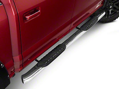 Barricade 5 in. Oval Side Step Bar - 60 Degree Ends - Stainless (15-17 SuperCrew)
