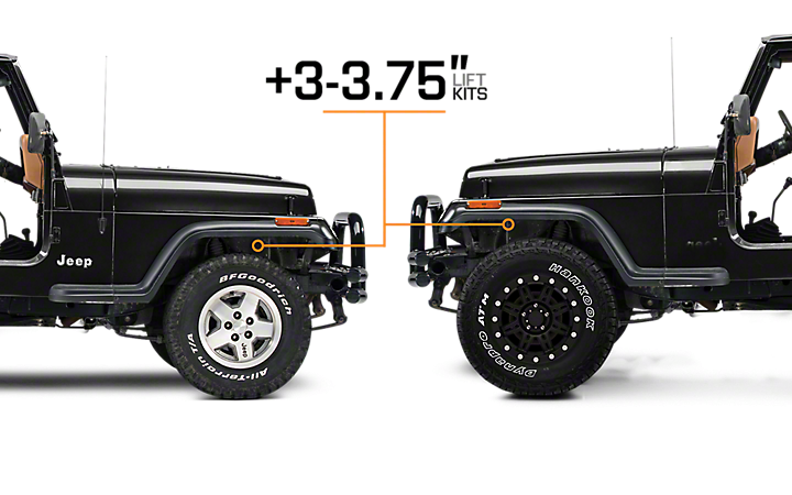 Jeep Wrangler Lift Kits >> 1987 1995 Jeep Wrangler Lift Kits Extremeterrain Free Shipping