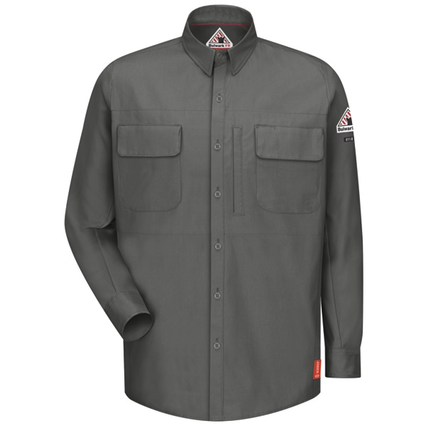 charcoal long sleeve shirt with pockets