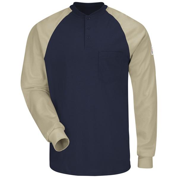 navy khaki henley