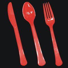 Red Plastic Forks Knives And Spoons PAP801140UN
