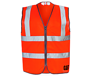 Hi-Vis Zip Vest, Mens Orange, dynamic