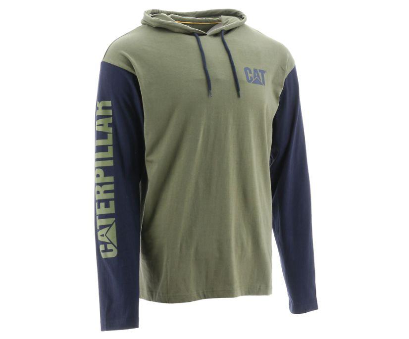 UPF Hooded Banner Long Sleeve Tee, Green, dynamic