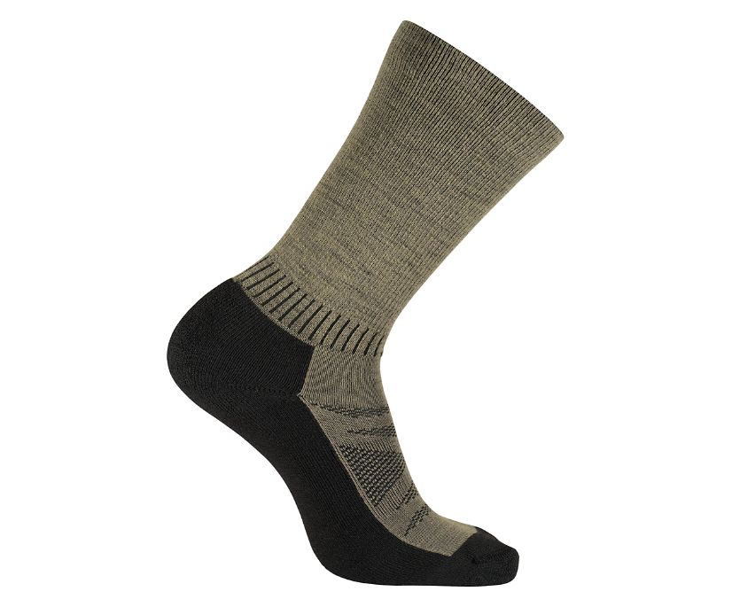 2-Pk USA Crafted High Mileage Wool Sock, Brown, dynamic