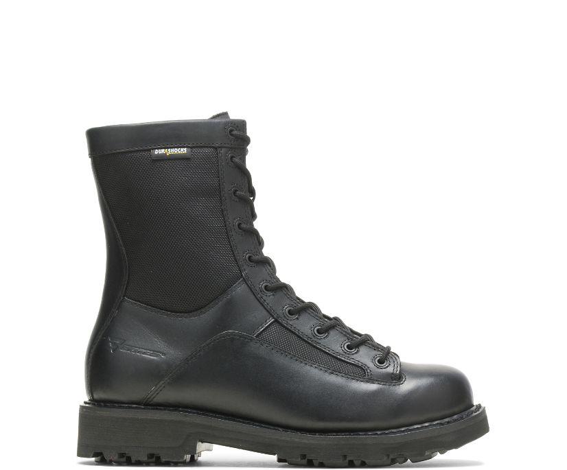 "8"" DuraShocks® Lace-to-toe Side Zip Boot, Black, dynamic"