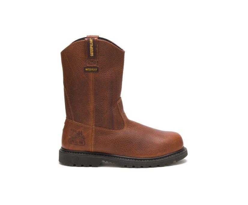 Edgework Pull On Waterproof Steel Toe Work Boot, Brown, dynamic