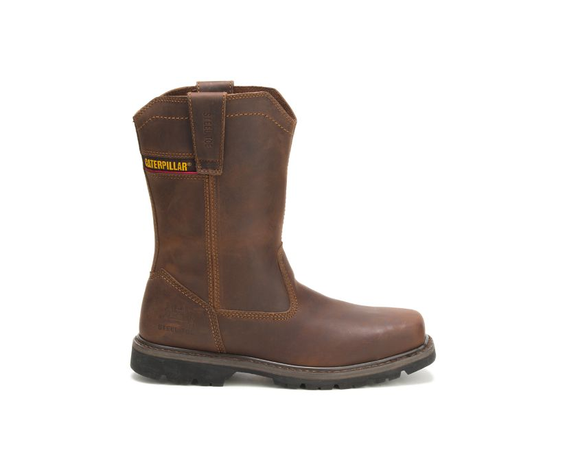 Wellston Pull On Steel Toe Work Boot, Dark Brown, dynamic