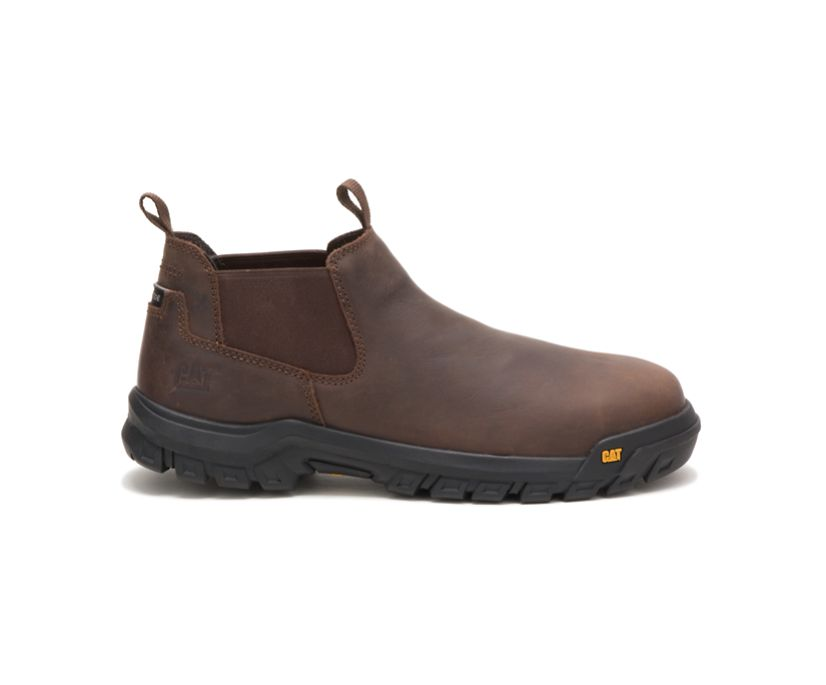 Outline Slip-On Steel Toe Work Boot, Seal Brown, dynamic
