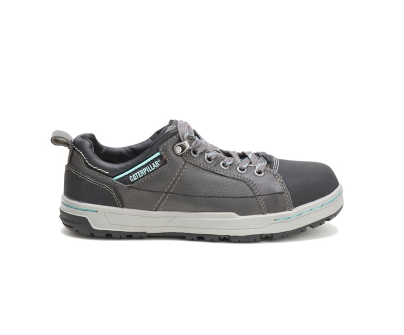 Brode Steel Toe Work Shoe, Dark Grey/Mint, dynamic
