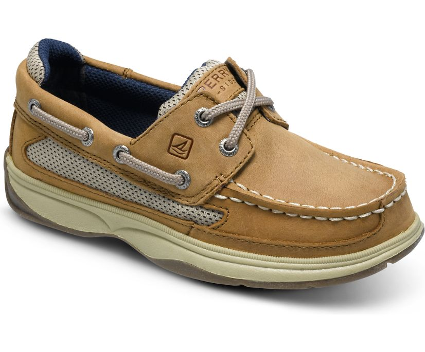 Lanyard Boat Shoe, Dark Tan/Navy, dynamic