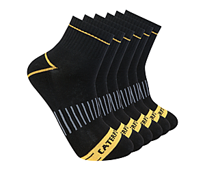 Advanced Cushion Quarter Sock 6-Pack, Black, dynamic