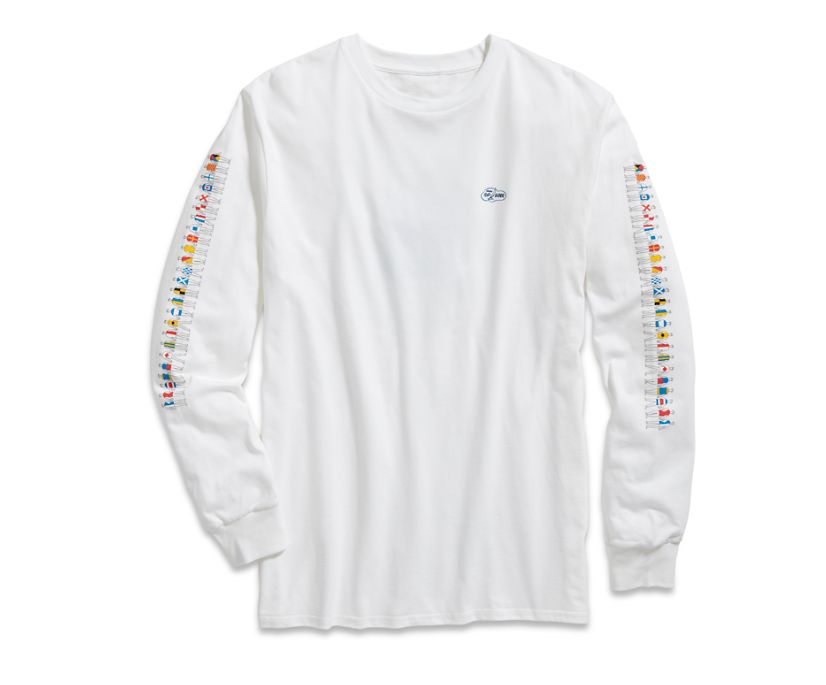 Made in the USA Cloud Signal Flag Long Sleeve T-Shirt, White, dynamic