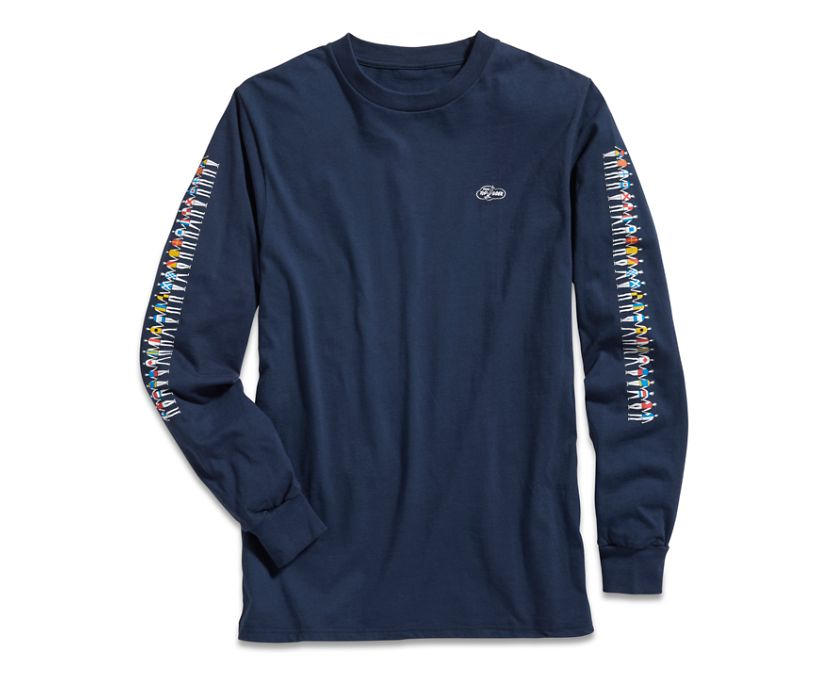Made in the USA Cloud Signal Flag Long Sleeve T-Shirt, Navy, dynamic