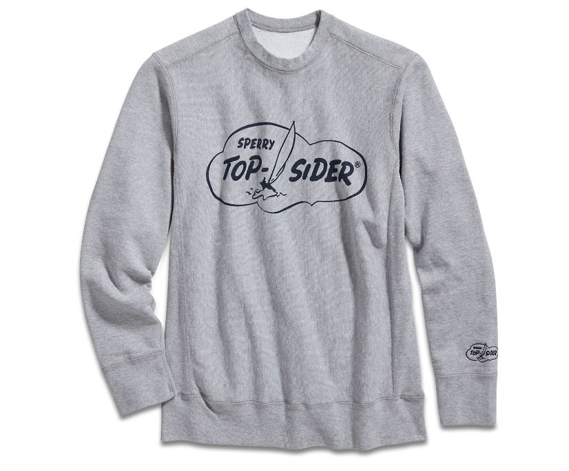 Made in USA Cloud Crew Neck Sweatshirt, Grey, dynamic