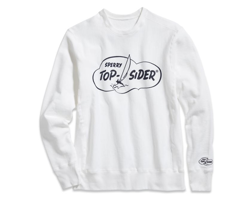 Made in USA Cloud Crew Neck Sweatshirt, White, dynamic