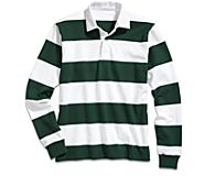 Cloud Horizontal Striped Rugby Shirt, White/Forest Green, dynamic