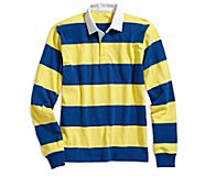 Cloud Horizontal Striped Rugby Shirt, Royal/Yellow, dynamic