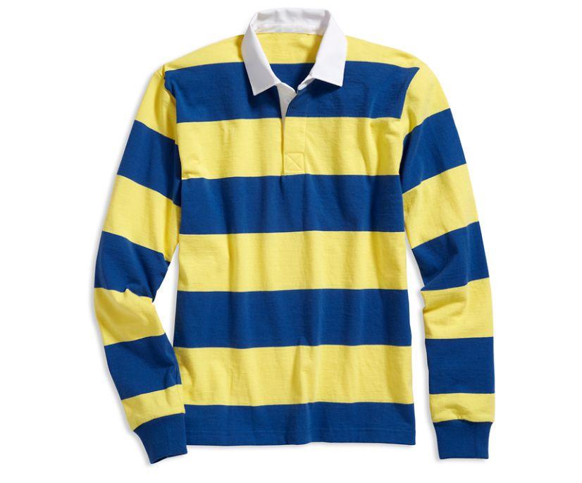 Cloud Horizontal Striped Rugby Shirt, Royal/Yellow, dynamic