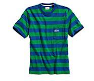 Cloud Rugby Stripe Pocket T-Shirt, Blue/Green, dynamic
