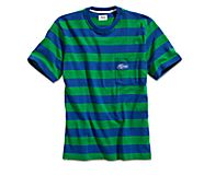 Cloud Rugby Stripe Pocket T-Shirt, Blue/Green, dynamic