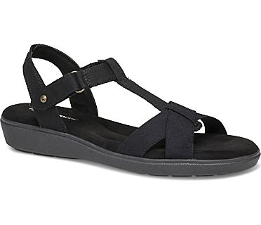 Ruby T-Strap Sandal, Black Canvas, dynamic