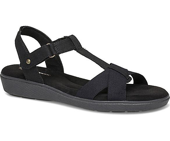 Ruby T-Strap Sandal, Black Canvas, dynamic