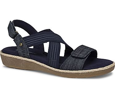 Leah 2 Strap Sandal., Cross Hatch Denim, dynamic