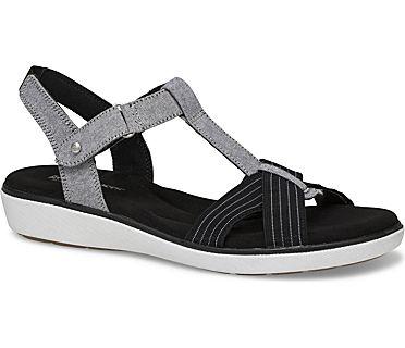 Ruby T-Strap Sandal, Black Chambray, dynamic