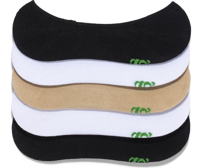 5 Pack No Show Socks, White Nude Black, dynamic