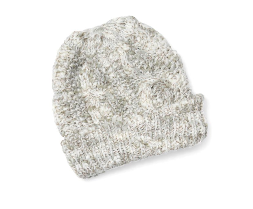 Marled Cable Knit Beanie, Egret Marl Combo, dynamic
