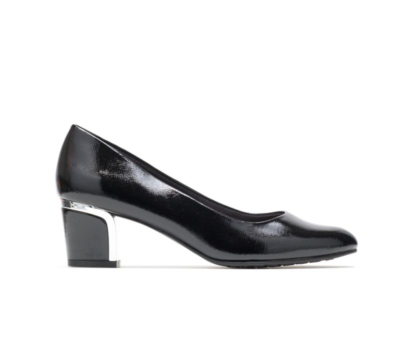 Deanna, Black Cross Hatch Patent/Silver Heel, dynamic