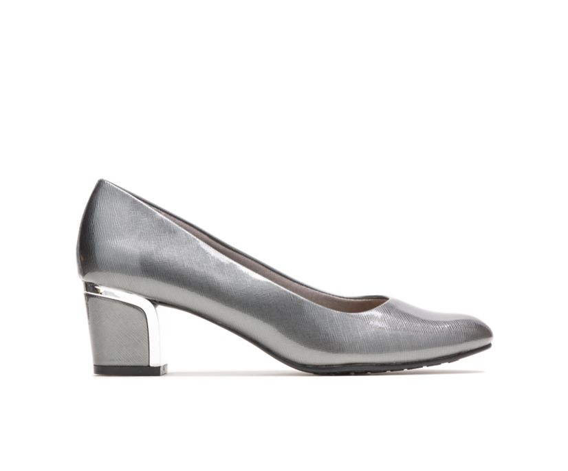 Deanna, Dark Pewter Cross Hatch Patent/Silver Heel, dynamic