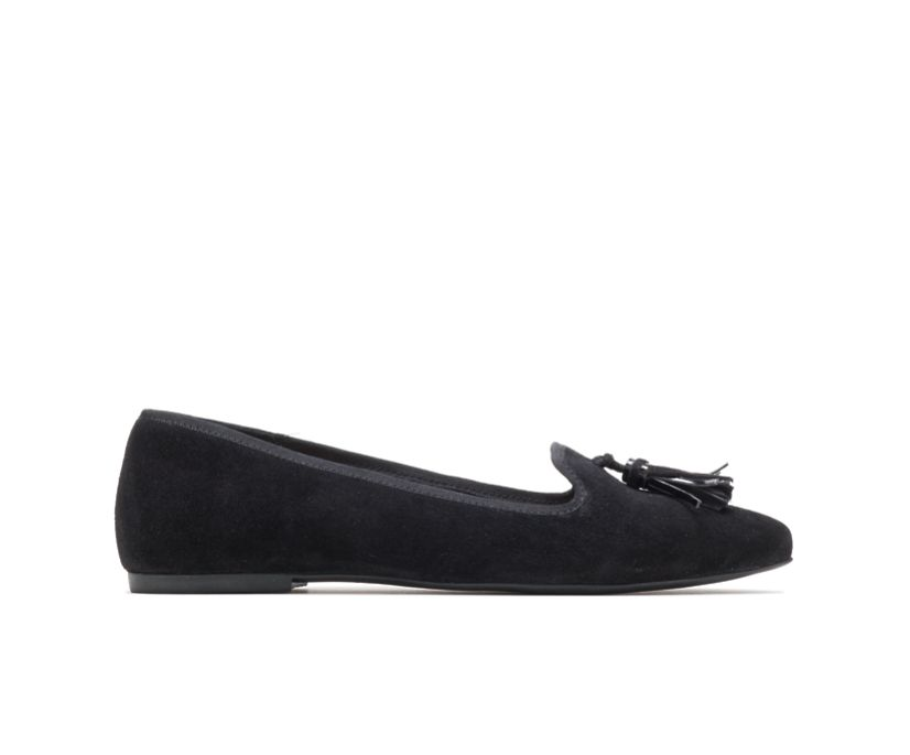 Sadie Tassel Slip-On, Black Suede, dynamic