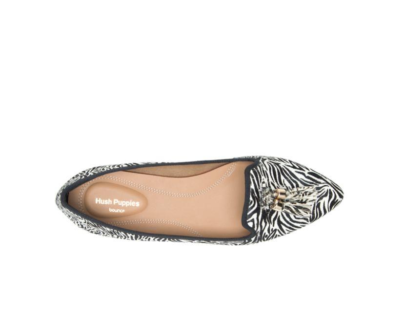 Sadie Tassel Slip-On, Zebra Calf Hair, dynamic