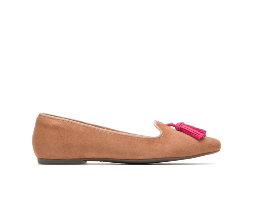 Sadie Tassel Slip-On, Tan Suede, dynamic