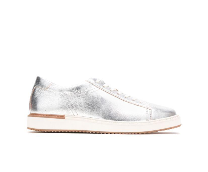 Sabine Sneaker, Silver Metallic Leather, dynamic