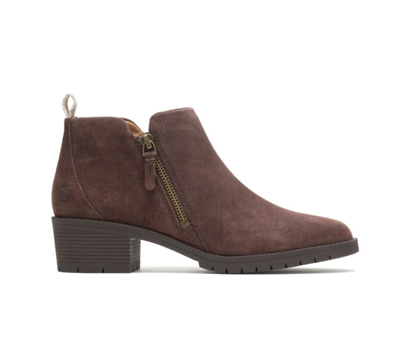 Hadley Side Zip Boot, Dark Brown Suede, dynamic