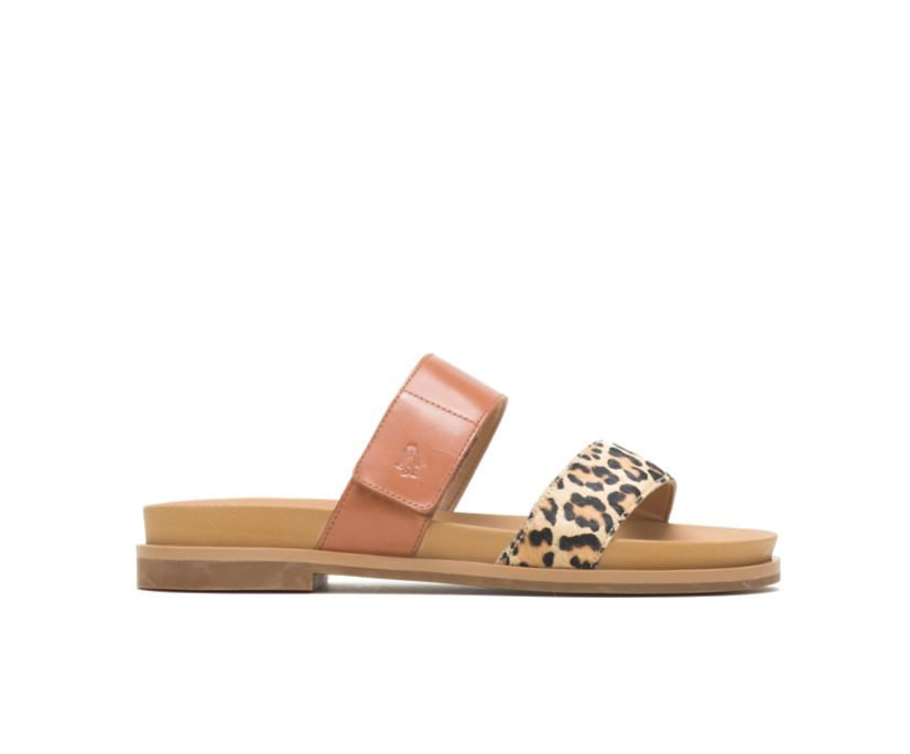 Lilly 2 Band Slide, Amber Brown/Leopard Leather, dynamic