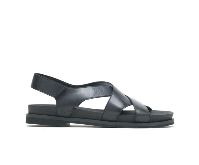 Lilly Criss Cross Sandal, Black Leather, dynamic